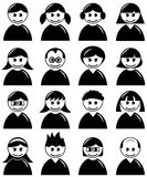 Avatar People Icons Set. Collection of 16 men and women minimalistic avatars in black and white isolated on white background. Eps file is available royalty free illustration