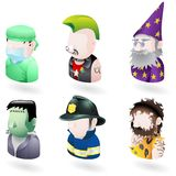 Avatar people internet icon set. An avatar people web or internet icon set series. Includes a doctor or surgeon, a punk, a wizard or magician, Frankenstein Royalty Free Stock Photo