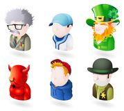 Avatar people web icon set. An avatar people web or internet icon set series. Includes a scientist or teacher, a baseball player, an irish leprechaun, a devil or Vector Illustration