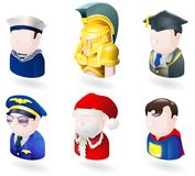 Avatar people web icon set. An avatar people web or internet icon set series. Includes a sailor or navy officer, a spartan or trojan soldier, a teacher or Royalty Free Stock Photos
