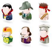 Avatar people web icon set. An avatar people web or internet icon set series. Includes a vampire or count dracula character, a sherlock holmes character, a rambo Royalty Free Stock Images