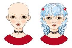 Avatar piękna dziewczyna z błękitnym włosy Zdjęcie Royalty Free