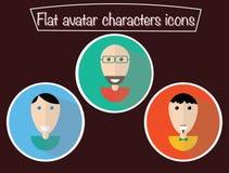 Avatar piani Caratteri dell'icona con gli occhi Tiranti sorridenti Ritratti felici, fumetto Fotografie Stock