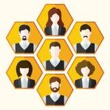 Avatar pictogrammenreeks mannelijke en vrouwelijke karakters Stock Afbeeldingen