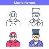 Avatar plat et linéaire de vecteur réglé : film et héros de bandes dessinées Illustration de Vecteur