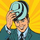 Avatar portrait gentle man raises his hat Royalty Free Stock Photography