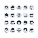 Avatar portrait user icon set Royalty Free Stock Image