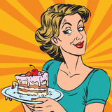 Avatar portrait woman with a piece of cake Royalty Free Stock Photo