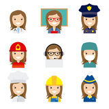 Avatar professions. Set of female workers in uniform style icons with flat faces. Avatar professions Stock Image