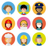 Avatar professions. Set of female workers in uniform style icons with flat faces. Avatar professions Stock Images