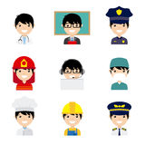 Avatar professions. Set of men workers in uniform style icons with flat faces. Avatar professions Stock Photos