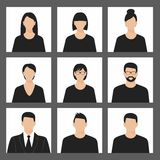 Avatar profile picture icon set including male and female Royalty Free Stock Photography