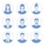 Avatar profilowa ikona wliczając samiec i kobiety Zdjęcia Royalty Free