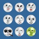 Avatar réglé d'emoji de ballon de football visage triste et fâché coupable et sle illustration stock