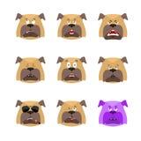 Avatar réglé d'emoji de chien visage triste et fâché coupable et sommeil P Image libre de droits