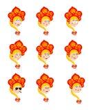 Avatar réglé d'emoji de la Russie visage triste et fâché coupable et sommeil illustration libre de droits