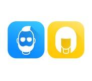 Avatar, ragazza ed uomo barbuto, icone di profilo Immagini Stock Libere da Diritti