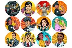 Avatar redondo determinado de los caracteres de los iconos del arte pop ilustración del vector