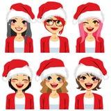 Avatar Santa Claus Hat das mulheres ilustração royalty free