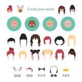 Avatar schepper met gestileerde karakters stock illustratie