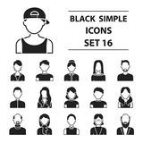 Avatar set icons in black style. Big collection avatar vector symbol stock illustration Stock Photography