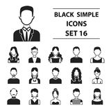 Avatar set icons in black style. Big collection avatar vector symbol stock illustration Royalty Free Stock Images