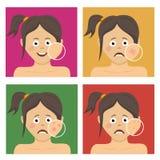Avatar set for skincare infographic. Teenager girl stock illustration
