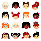Avatar set with womens of different ethnicity stock illustration