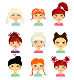 Avatar set with womens of different ethnicity origin Stock Image