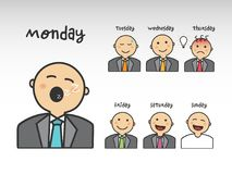 Avatar set at the work in the days of the week. Vector illustration Royalty Free Stock Photos