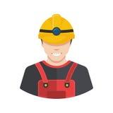 Avatar sorridente dell'icona del costruttore del muratore pianamente Immagini Stock