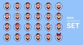 Avatar stabilito di emozione differente del maschio dell'icona di profilo, raccolta del fronte del ritratto del fumetto dell'uomo illustrazione vettoriale