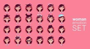 Avatar stabilito di emozione differente della femmina dell'icona di profilo, raccolta del fronte del ritratto del fumetto della d illustrazione di stock