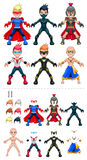 Avatar superheroes vector illustration,  objects Royalty Free Stock Photography