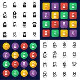 Avatar 20th Century Historical Figures All in One Icons Black & White Color Flat Design Freehand Set. This image is a vector illustration and can be scaled Royalty Free Stock Photos