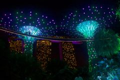 Gardens by the Bay, Singapore. Avatar trees- night view, Gardens by the Bay , Singapore royalty free stock photos
