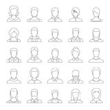 Avatar user icon set, outline style. Avatar user icon set. Outline illustration of 25 avatar user vector icons for web Stock Images