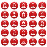 Avatar user icon set vetor red. Avatar user icon set. Simple illustration of 25 avatar user vector icons red isolated Royalty Free Stock Photo