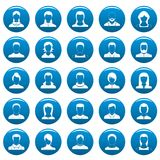 Avatar user vector icons set blue, simple style. Avatar user icons set blue. Simple illustration of 25 avatar user vector icons for web Stock Image
