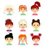 Avatar ustawiający z kobietami różny pochodzenie etniczne początek Obraz Stock