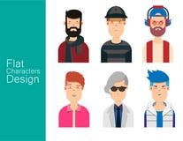 Avatar van de mensenillustratie Vectorreeks Stock Afbeeldingen