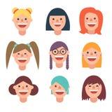 Avatar van de Smileyvrouw pictogram in vlakke stijl Stock Foto