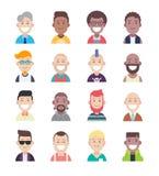 Avatar van diversiteitsmensen vlakke pictogramreeks stock illustratie