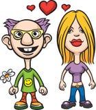 Avatar van het beeldverhaal liefdepaar nerd en meisje Royalty-vrije Stock Afbeelding