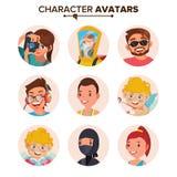 Avatar van karaktermensen Vastgestelde Vector Gezicht, Emoties Standaardavatar Placeholder Inzameling Beeldverhaal, Grappig Art F vector illustratie