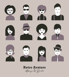 Avatar various boys & girls retro style. Vector avatar icon set of boys&girls sixties style Stock Photo