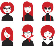 Avatar various girls faces. 1960s fashion style Royalty Free Stock Photo