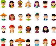 Avatar vector illustration of multicultural national children, people. Set of cartoon children face international people in traditional costumes Royalty Free Stock Image
