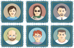 Avatar. Vector illustration. Set of avatars men on the background of jeans royalty free illustration