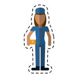 Avatar woman delivery working box and cap uniform cutting Stock Image